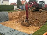 Aushubarbeiten für ein EH mit Keller